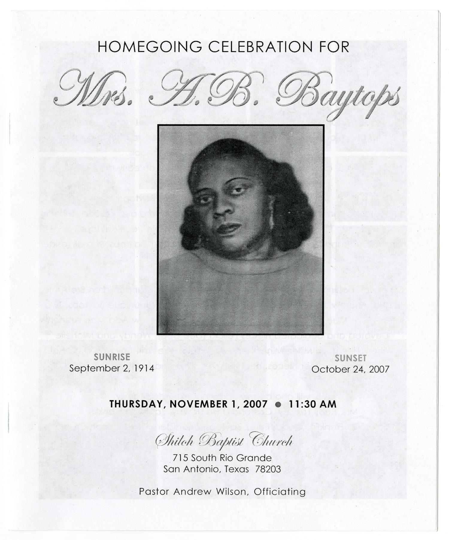 [Funeral Program for A. B. Baytops, November 1, 2007]                                                                                                      [Sequence #]: 1 of 5