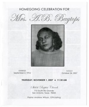 Primary view of object titled '[Funeral Program for A. B. Baytops, November 1, 2007]'.