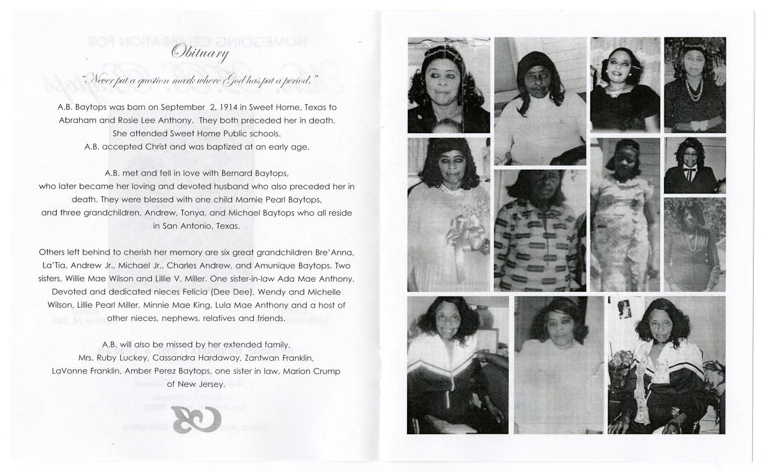 [Funeral Program for A. B. Baytops, November 1, 2007]                                                                                                      [Sequence #]: 2 of 5
