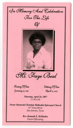 Primary view of object titled '[Funeral Program for Faye Beal, April 26, 2007]'.
