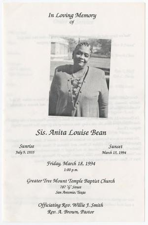 Primary view of object titled '[Funeral Program for Anita Louise Bean, March 18, 1994]'.
