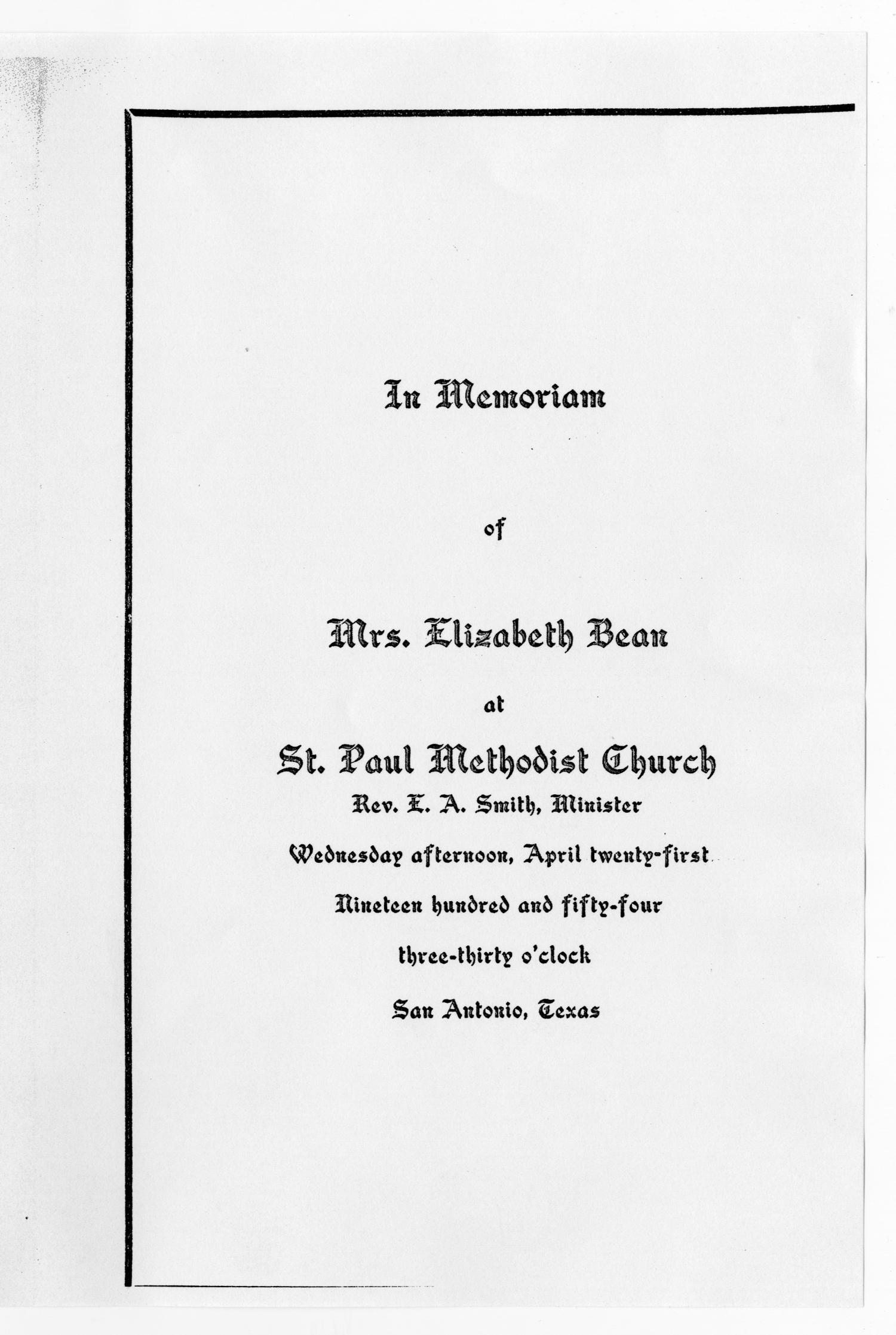 [Funeral Program for Elizabeth Bean, April 21, 1954]                                                                                                      [Sequence #]: 1 of 3