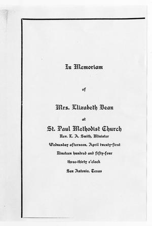 Primary view of object titled '[Funeral Program for Elizabeth Bean, April 21, 1954]'.