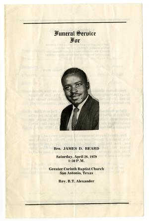 Primary view of object titled '[Funeral Program for James D. Beard, April 28, 1979]'.