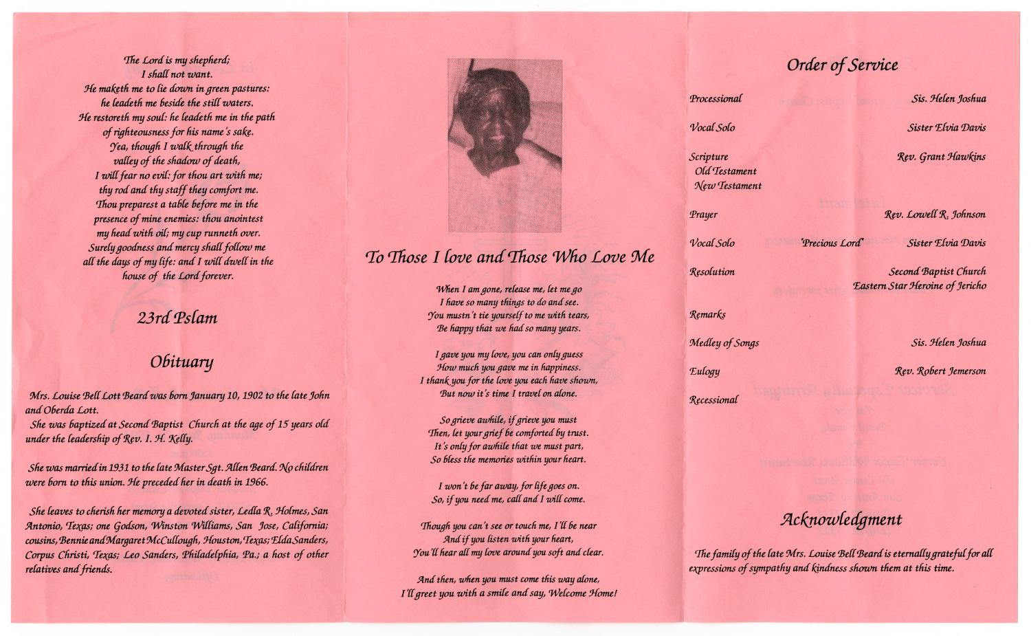 [Funeral Program for Louise Bell Beard, June 20, 1994]                                                                                                      [Sequence #]: 2 of 3