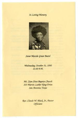Primary view of object titled '[Funeral Program for Mercile Green Beard, October 31, 1990]'.