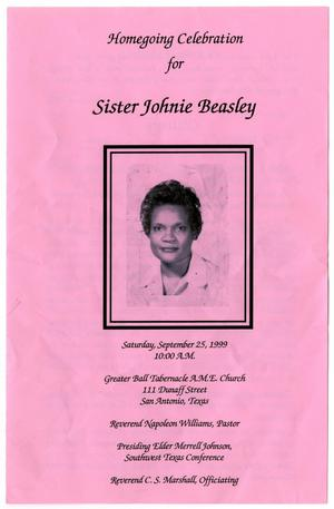 Primary view of object titled '[Funeral Program for Johnie Beasley, September 25, 1999]'.