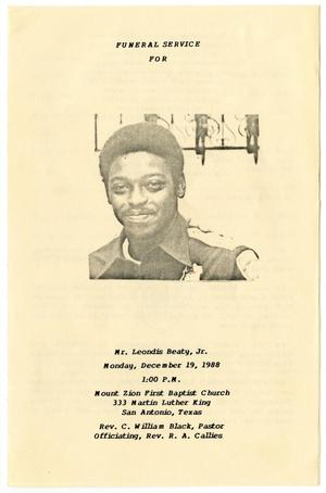 Primary view of object titled '[Funeral Program for Leondis Beaty, Jr., December 19, 1988]'.