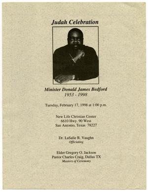 Primary view of object titled '[Funeral Program for Donald James Bedford, February 17, 1998]'.