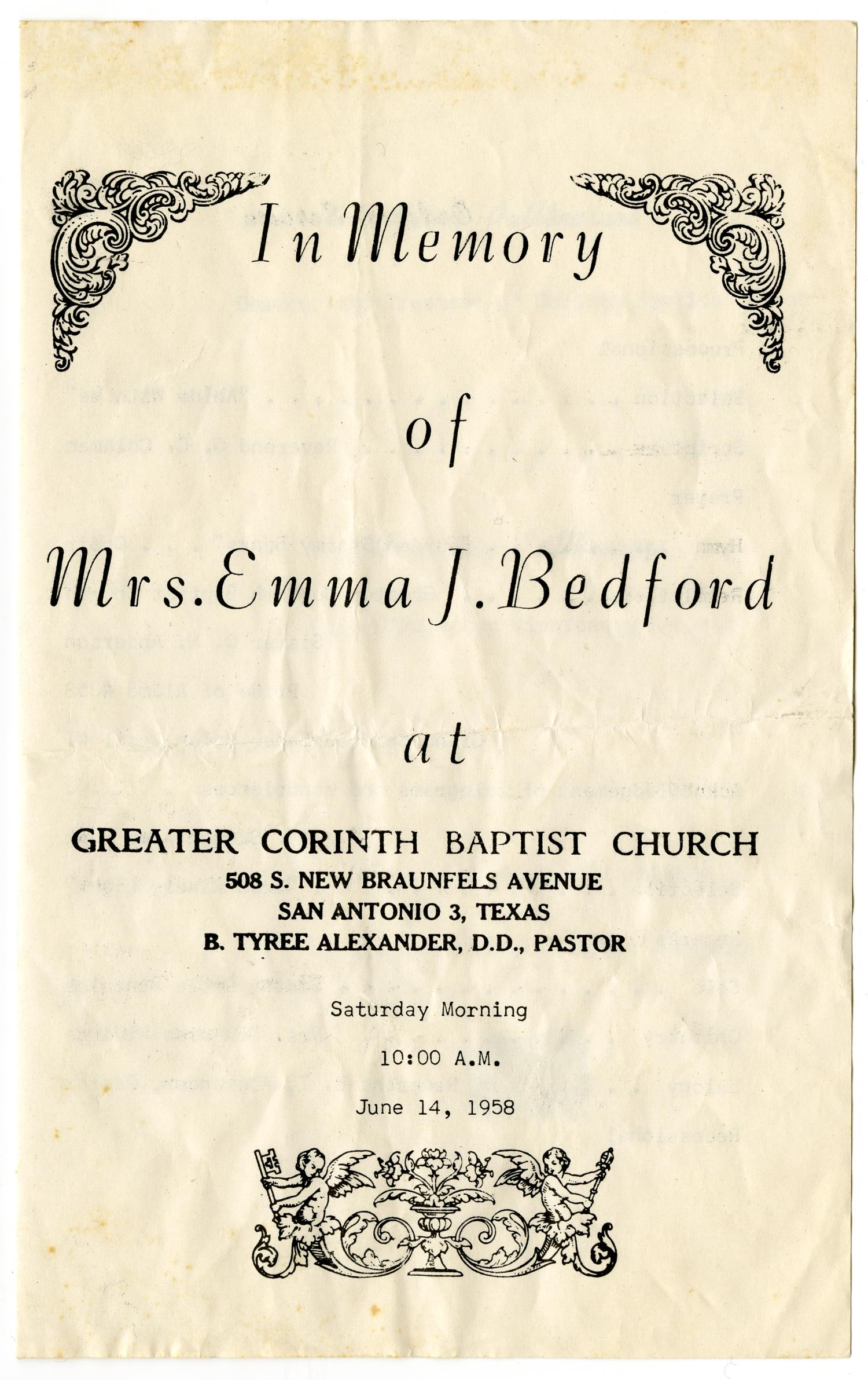 [Funeral Program for Emma J. Bedford, June 14, 1958]                                                                                                      [Sequence #]: 1 of 3