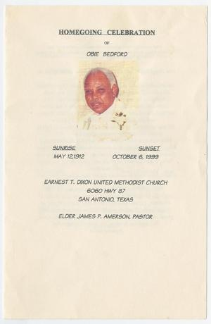 Primary view of object titled '[Funeral Program for Obie Bedford, October 1?, 1999]'.
