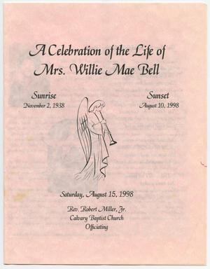 Primary view of object titled '[Funeral Program for Willie Mae Bell, August 15, 1998]'.