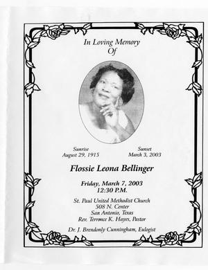 Primary view of object titled '[Funeral Program for Flossie Leona Bellinger, March 7, 2003]'.