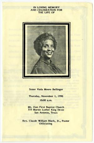 Primary view of object titled '[Funeral Program for Viola Moore Bellinger, November 1, 1990]'.