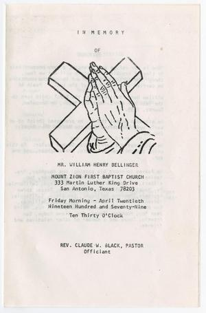 Primary view of object titled '[Funeral Program for William Henry Bellinger, April 20, 1979]'.