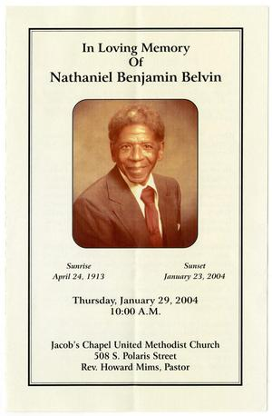 Primary view of object titled '[Funeral Program for Nathaniel Benjamin Belvin, January 29, 2004]'.