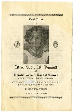 Primary view of object titled '[Funeral Program for Sadie M. Bennett, January 22, 1969]'.