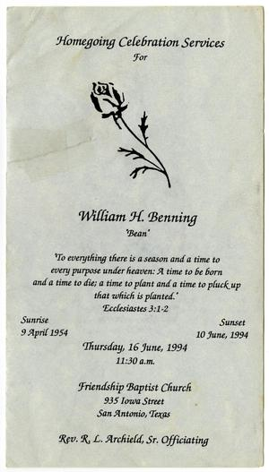 Primary view of object titled '[Funeral Program for William H. Benning, June 16, 1994]'.