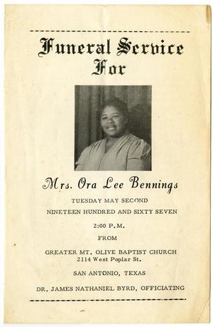 [Funeral Program for Ora Lee Bennings, May 2, 1967]