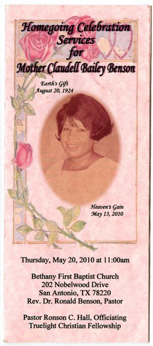 [Funeral Program for Claudell Bailey Benson, May 20, 2010]