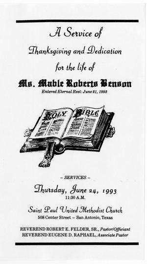 Primary view of object titled '[Funeral Program for Mable Roberts Benson, June 24, 1993]'.
