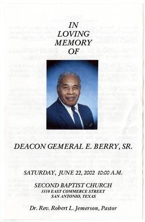 Primary view of object titled '[Funeral Program for Gemeral E. Berry, Sr., June 22, 2002]'.