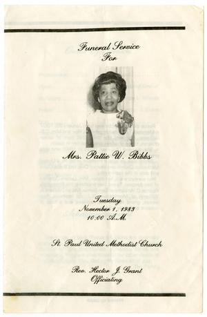 Primary view of object titled '[Funeral Program for Pattie W. Bibbs, November 1, 1983]'.