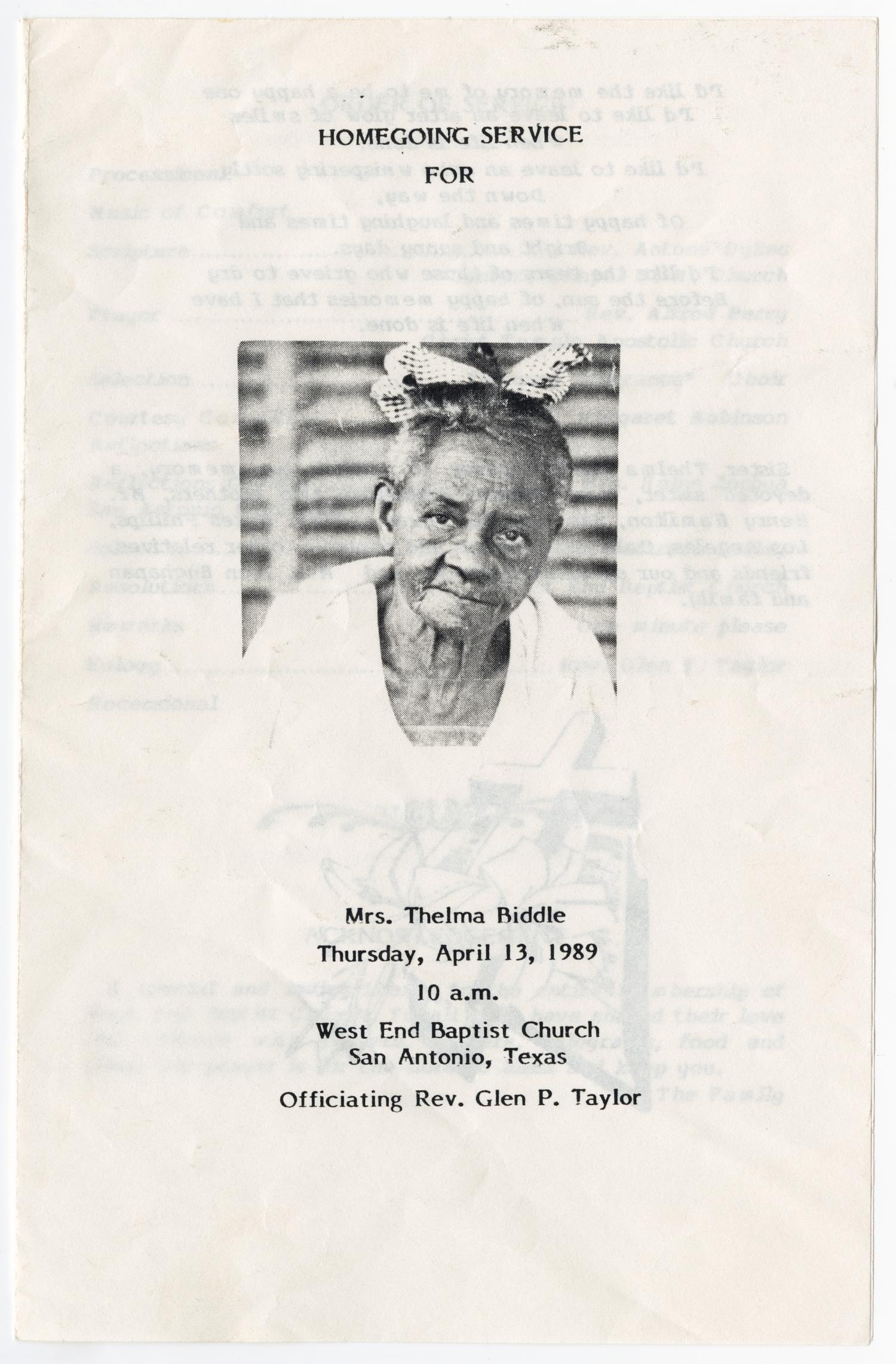 [Funeral Program for Thelma Biddle, April 13, 1989]                                                                                                      [Sequence #]: 1 of 3