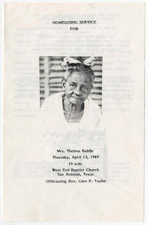 Primary view of object titled '[Funeral Program for Thelma Biddle, April 13, 1989]'.