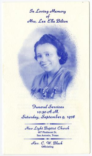 Primary view of object titled '[Funeral Program for Lee Ella Bilton, September 9, 1978]'.