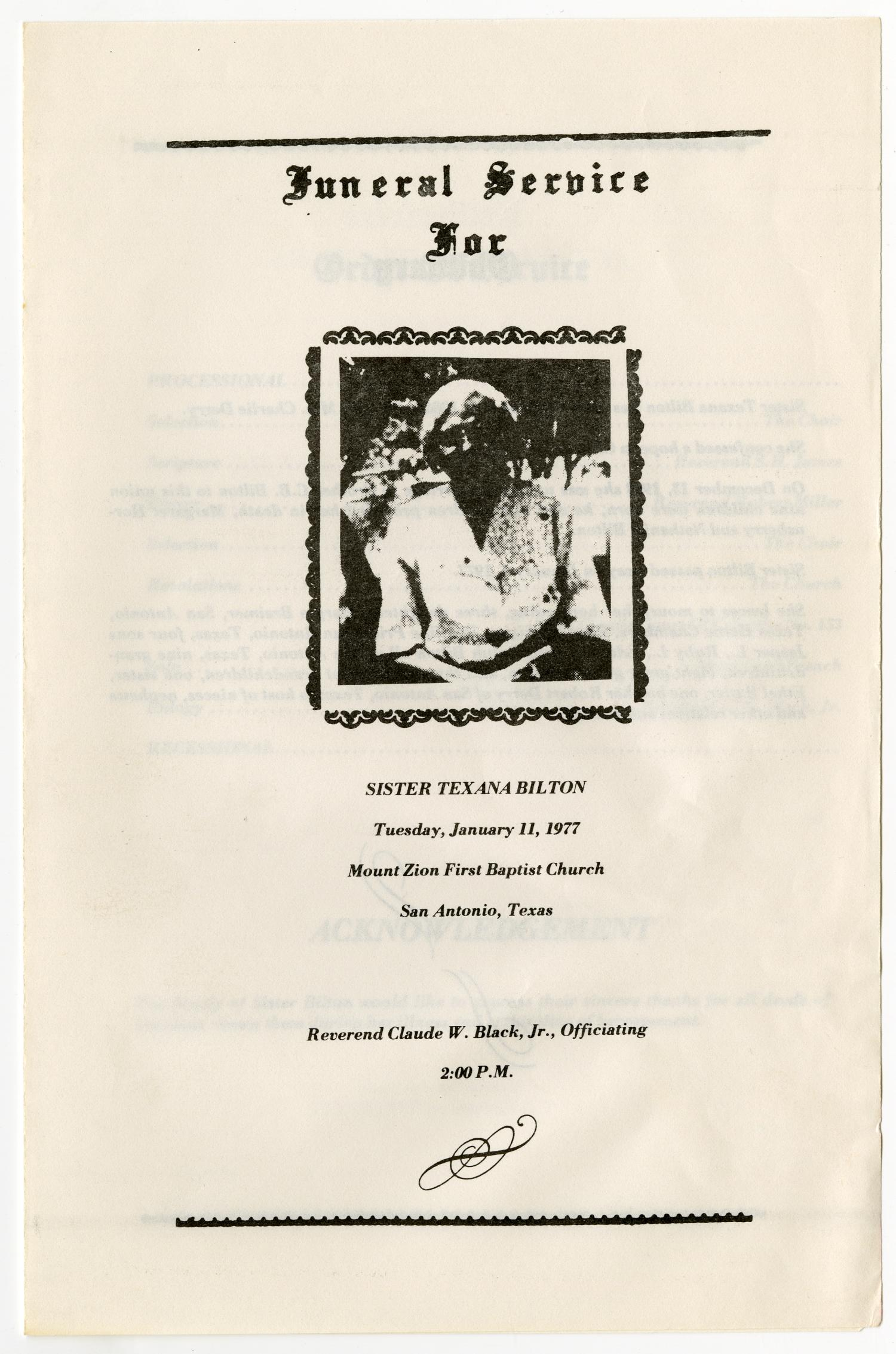 [Funeral Program for Texana Bilton, January 11, 1977]                                                                                                      [Sequence #]: 1 of 3