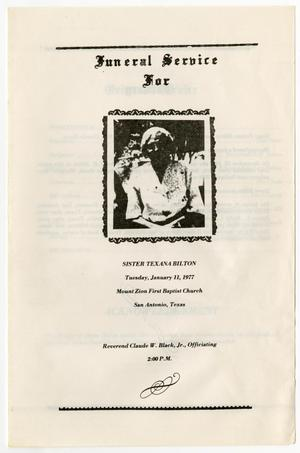 Primary view of object titled '[Funeral Program for Texana Bilton, January 11, 1977]'.