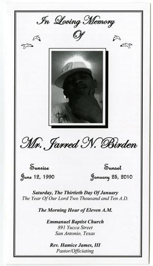 Primary view of object titled '[Funeral Program for Jarred N. Birden, January 30, 2010]'.