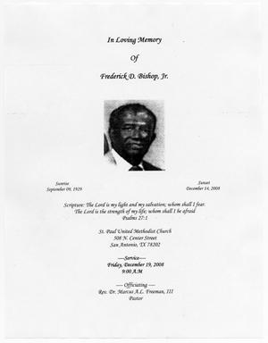 Primary view of object titled '[Funeral Program for Frederick D. Bishop, Jr., December 19, 2008]'.