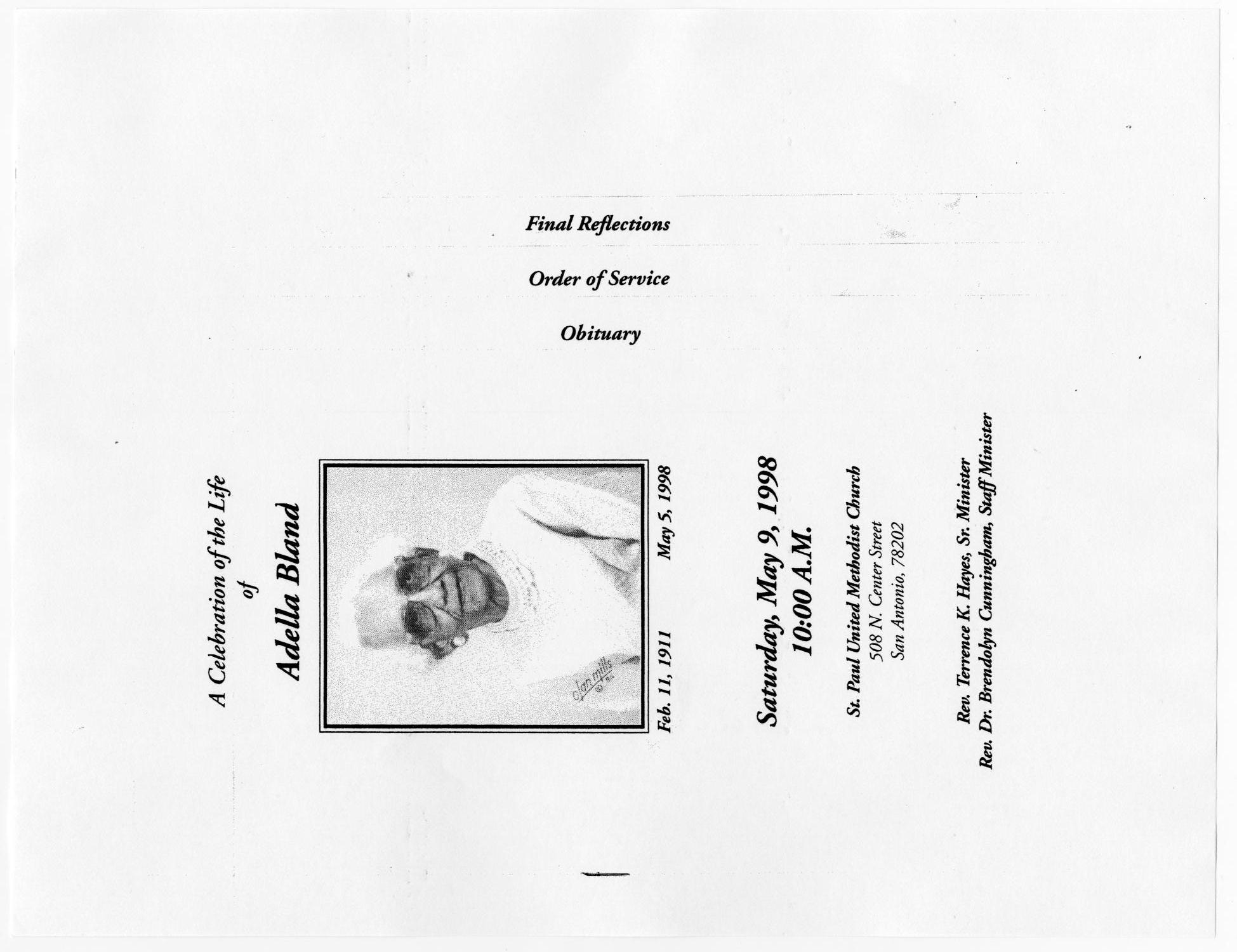 [Funeral Program for Adella Bland, May 9, 1998]                                                                                                      [Sequence #]: 1 of 5