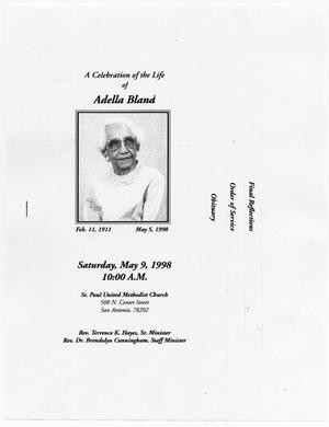 Primary view of object titled '[Funeral Program for Adella Bland, May 9, 1998]'.