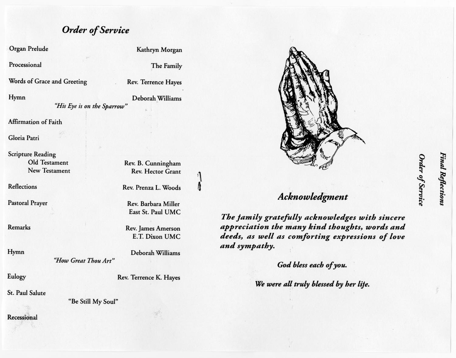 [Funeral Program for Adella Bland, May 9, 1998]                                                                                                      [Sequence #]: 3 of 5