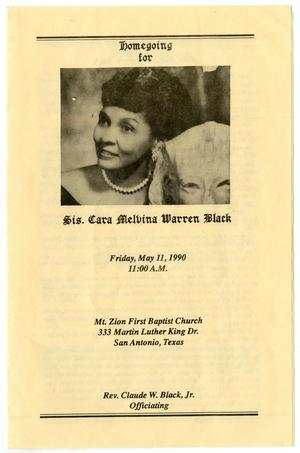 Primary view of object titled '[Funeral Program for Cara Melvina Warren Black, May 11, 1990]'.