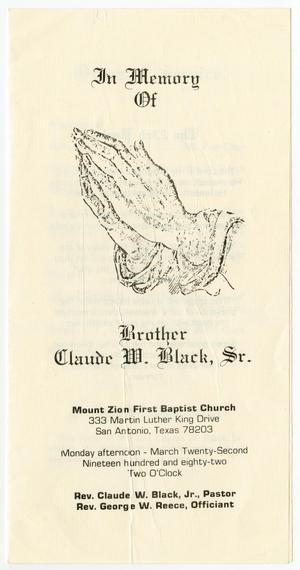 [Funeral Program for Claude W. Black, Sr., March 22, 1982]