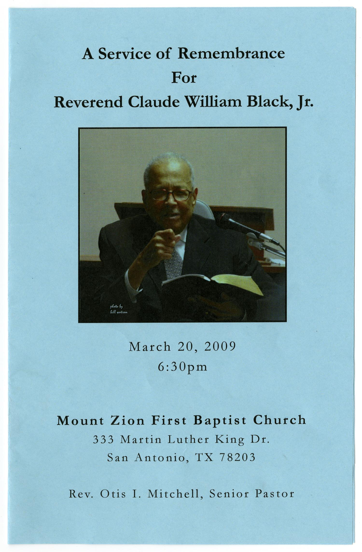 [Memorial Program for Claude William Black, Jr., March 20, 2009]                                                                                                      [Sequence #]: 1 of 3