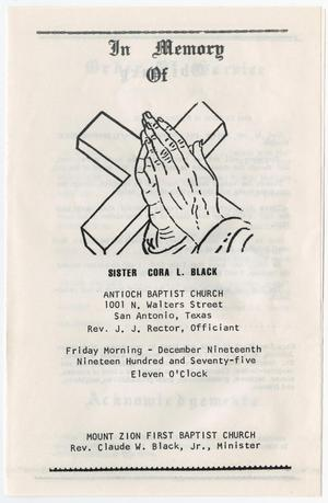 Primary view of object titled '[Funeral Program for Cora L. Black, December 19, 1975]'.