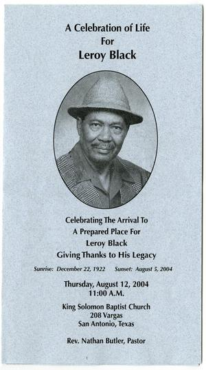 Primary view of object titled '[Funeral Program for Leroy Black, August 12, 2004]'.