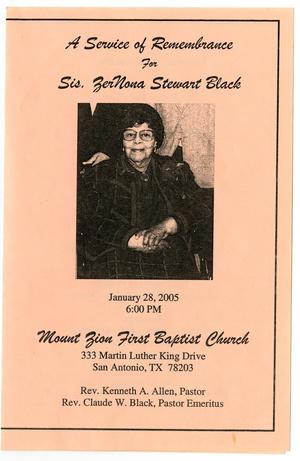 Primary view of object titled '[Memorial Program for ZerNona Stewart Black, January 28, 2005]'.