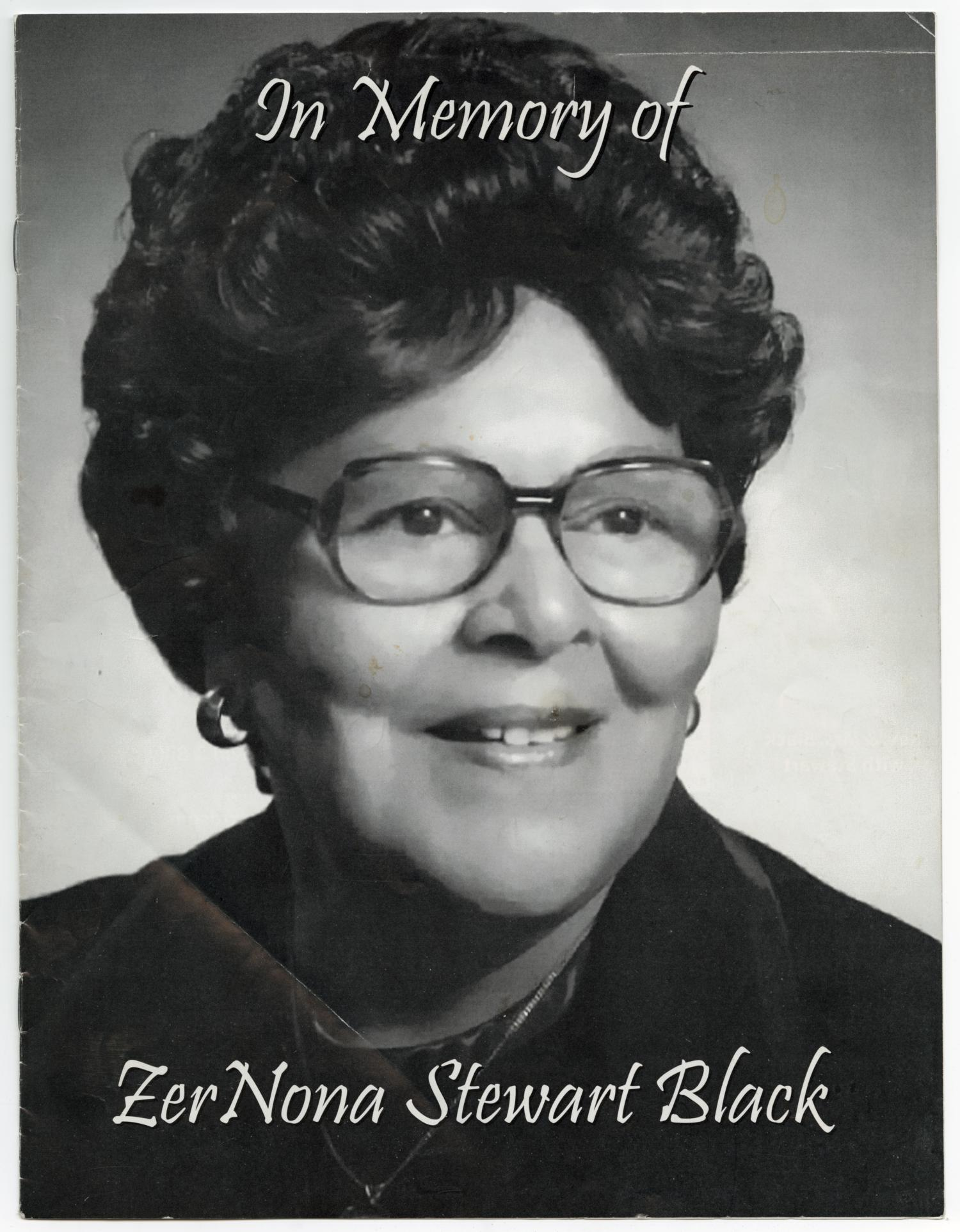 [Funeral Program for ZerNona Stewart Black, January 29, 2005]                                                                                                      [Sequence #]: 1 of 8