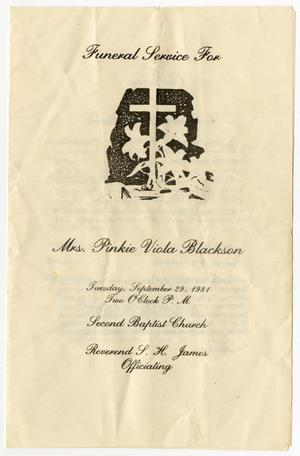 Primary view of object titled '[Funeral Program for Pinkie Viola Blackson, September 29, 1981]'.