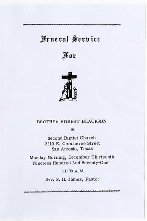 Primary view of object titled '[Funeral Program for Robert Blackson, December 13, 1971]'.