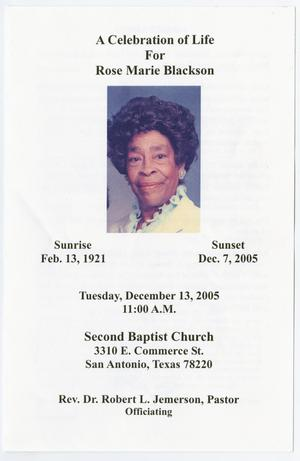 Primary view of object titled '[Funeral Program for Rose Marie Blackson, December 13, 2005]'.