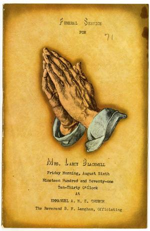Primary view of object titled '[Funeral Program for Larcy Blackwell, August 6, 1971]'.