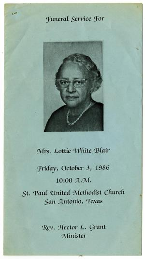 Primary view of object titled '[Funeral Program for Lottie White Blair, October 3, 1986]'.