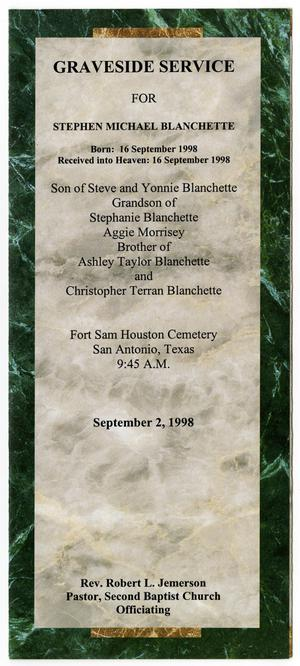 Primary view of object titled '[Funeral Program for Stephen Michael Blanchette, circa September 1998]'.
